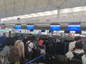 香港国際空港の厦門航空(XIAMEN AIR)のカウンター