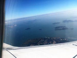 厦門航空(XIAMEN AIR)の機内から香港