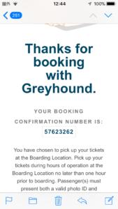 グレイハウンドの バスチケットの予約番号