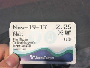 シアトルのリンク・ライト・レールの切符