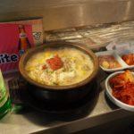 スンデグッ(豚の腸詰めスープ)とソジュ(韓国焼酎)